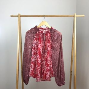 Free People • Hendrix Floral Blouse Red Peasant